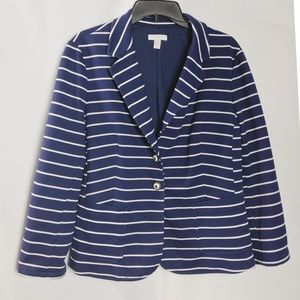 Charter Club Blue Nautical Striped Cotton Blazer L